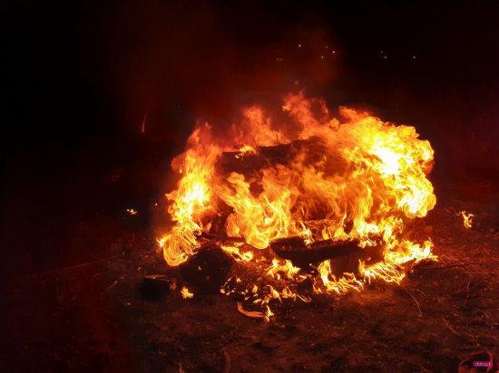 Pożar auta w Bielawie