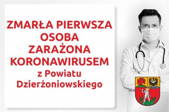 Zmarła pierwsza osoba zarażona koronawirusem z powiatu dzierżoniowskiego