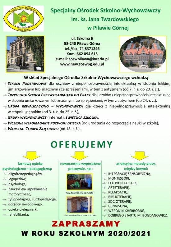 Rekrutacja do SOSW w Piławie Górnej