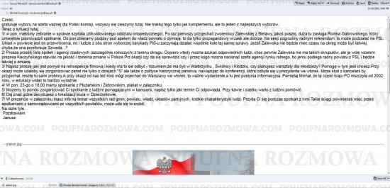 Maniecki do Dworczyka: Zrobiłem listę naszych osób do wykorzystania do spółek czy agecni. Zbieram cv.