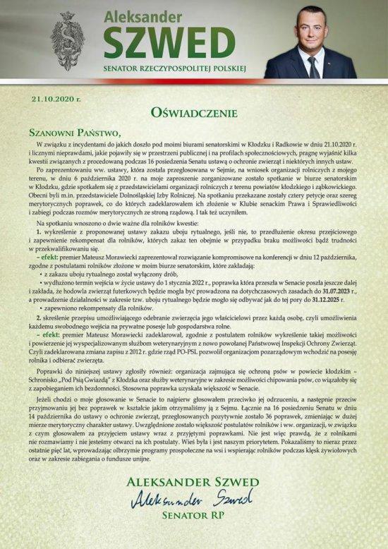 Senator Aleksander Szwed wydał oświadczenie dotyczące incydentów, do jakich doszło 21 października