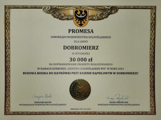 Promesa z Odnowy Wsi dla gminy Dobromierz