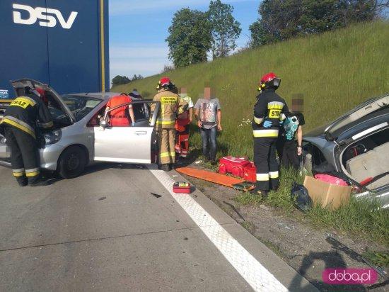 Wypadek trzech pojazdów na A4