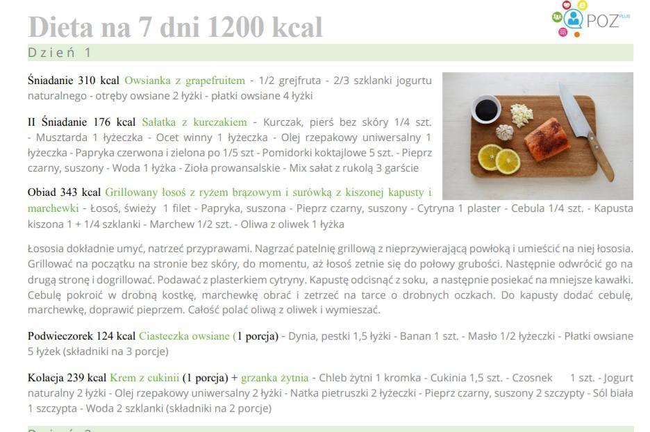 Dieta 1500 kcal jadlospis na 7 dni