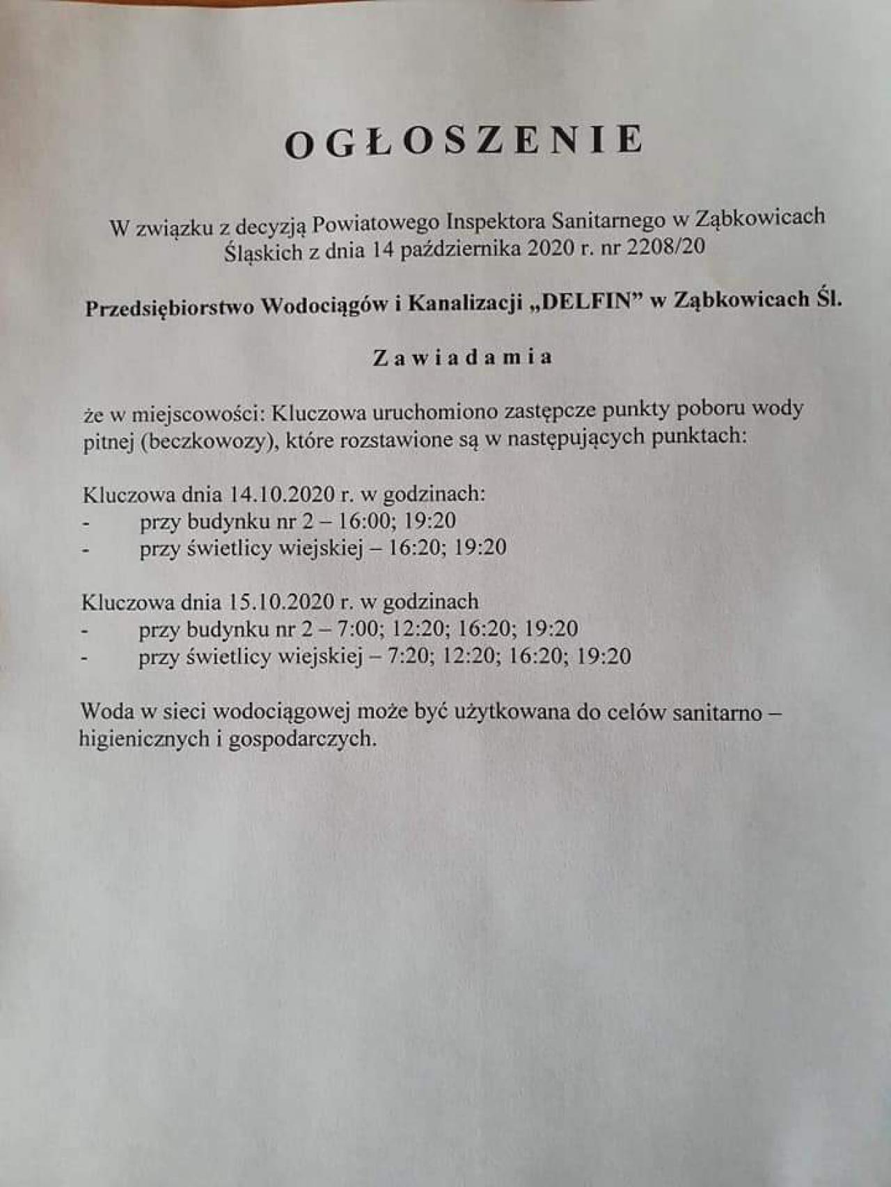 Zakaz spożywania wody w Tarnowie i Kluczowej