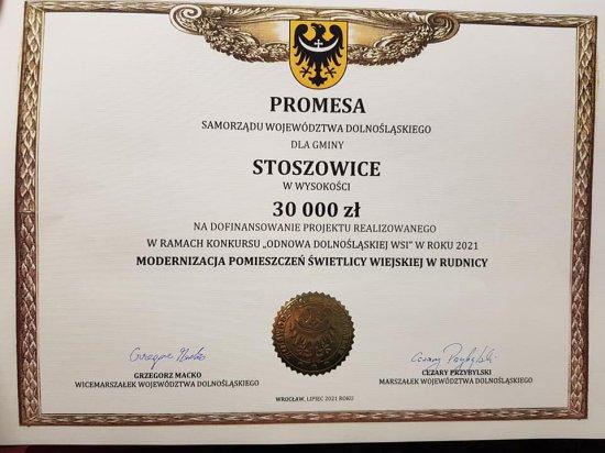 Promesy na dofinansowanie inwestycji w gminie Stoszowice